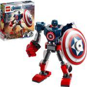 LEGO™ Marvel Avengers Capitán América clásico en armadura robótica y escudo, juguete de construcción coleccionable (121 piezas), 2021  76168