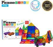Set de construccion 82 Piezas + 2 Automoviles de Imanes PicassoTiles (magnéticos, 3D), color transparente Educativo, inspirador, convencional, recreativo