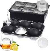 Moldes de hielo cubos + esferas mejorados incluye 2 bandejas con tapa y cuadrados y esféricos grandes para whisky, cócteles y caseros
