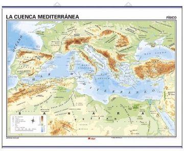 portada La Cuenca Mediterr‡nea, f'sico / pol'tico: Mapas Murales (Cartografía)