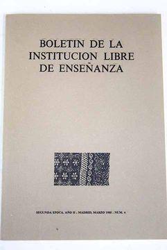 portada Boletín de la Institución Libre de Enseñanza, Número 4, Marzo 1988