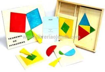 portada teorema de pitagoras (madera) (27x38 cms.) (caja con tapa+ 6 puzzles formas geometricas)
